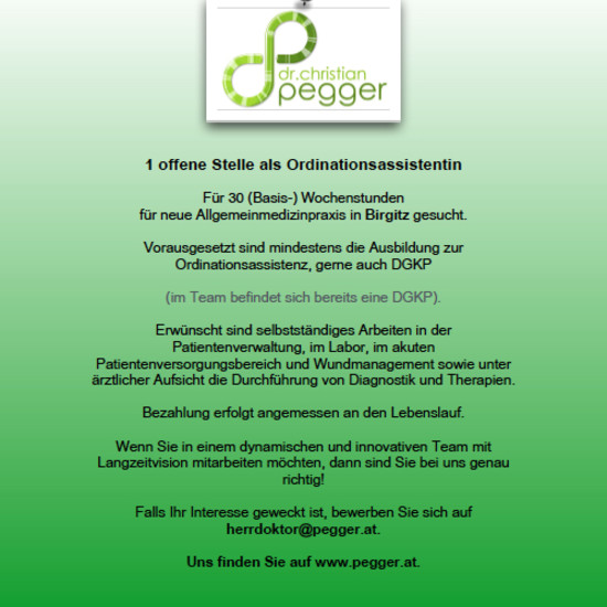 ORDINATIONSASSISTENTIN GESUCHT